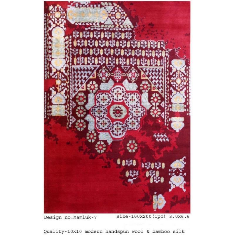 Modern Design Woollen Hand Knotted Carpet From Mirzapur Size 3.0x6.6 Feet