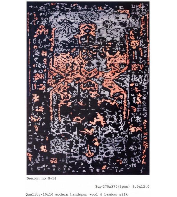 Modern Design Woollen Hand Knotted Carpet From Mirzapur Size 9.0x12.0 Feet
