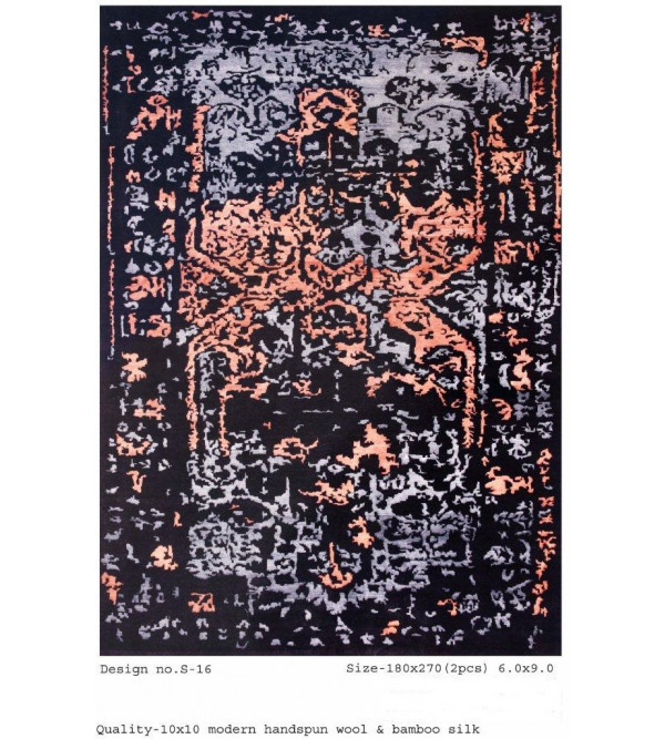 Modern Design Woollen Hand Knotted Carpet From Mirzapur Size 6.0x9.0 Feet