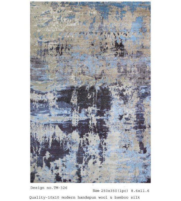 Modern Design Woollen Hand Knotted Carpet From Mirzapur Size 8.6x11.6 Feet