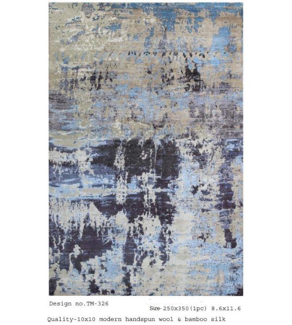 Modern Design Woollen Hand Knotted Carpet From Mirzapur Size 8.6x11.6 Feet