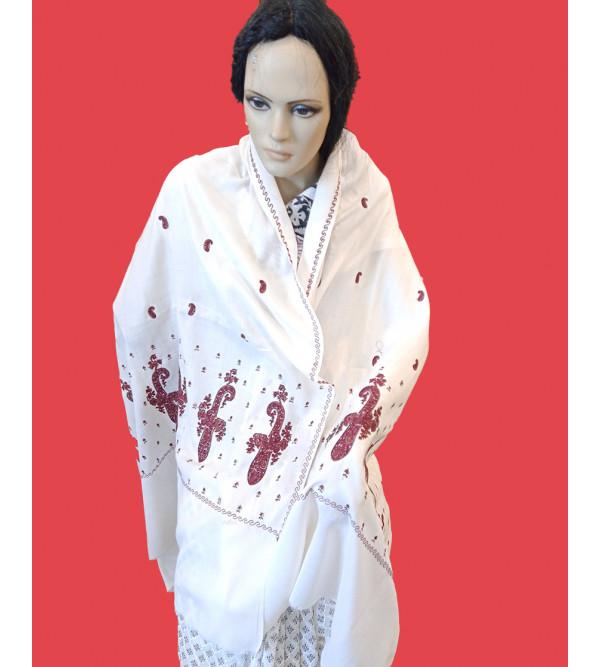 Woollen Shawl Hand Embroidered In Kashmir Size 40X80 Inch