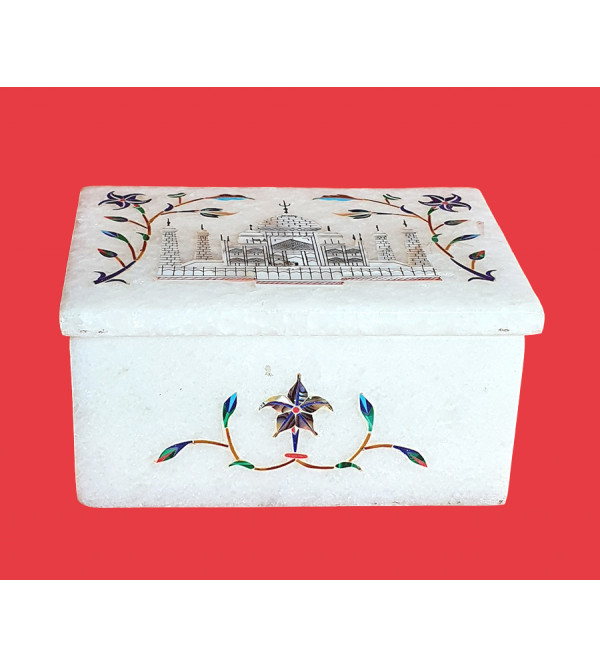BOXES MARBLE 4X3 inch with semi precious stone inlay