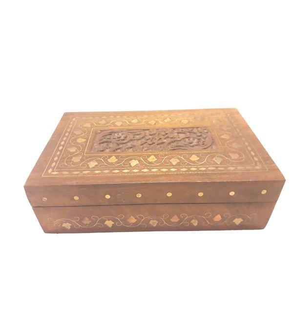BOX COPPERBRASS INLAID FINE SLAB  SHEESHAM WOOD 8 x 5 x 2 INCHES