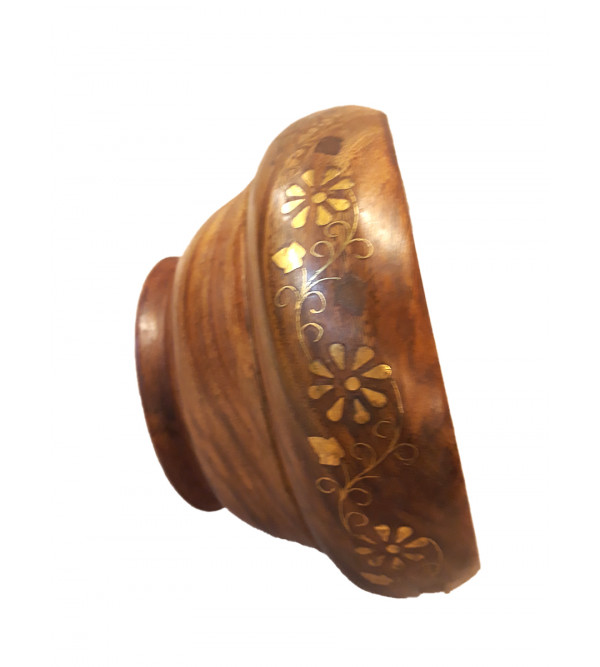 Sheesham Wood Handcrafted Brass- Copper Inlay Bowl