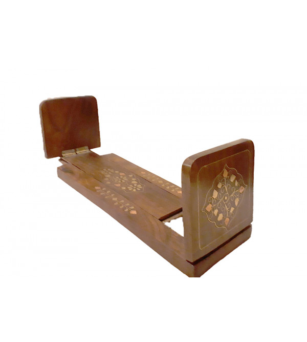 Sheesham Wood Handcrafted Bookend with Brass- Copper Inlay