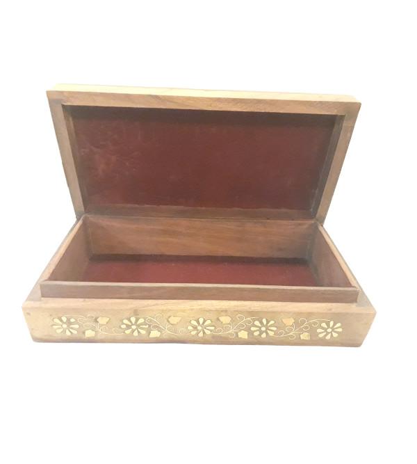 BOX COPPERBRASS INLAID FINE SLAB    SHEESHAM WOOD 10 x 5 x 2 INCHES