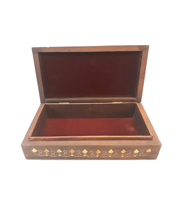 BOX COPPERBRASS INLAID FINE SLAB  SHEESHAM WOOD 9 x 5 x 2  INCHES