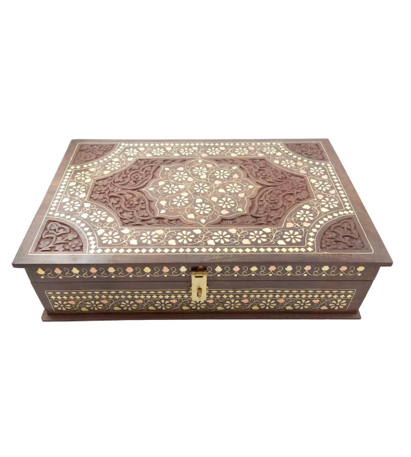 HANDICRAFT ASSORTED DESIGNS SHEESHAM WOOD BOX BC INLAID CARVED 15X10 INCH