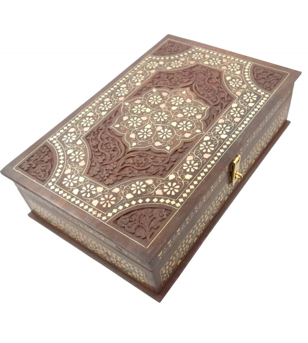 Sheesham Wood Handcrafted Carved Brass- Copper Inlay Box