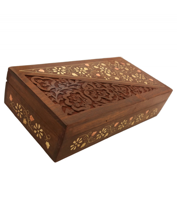 HANDICRAFT ASSORTED SHEESHAM WOOD BOX COPPERBRASS INLAID FINE SLAB 10X5 INCH
