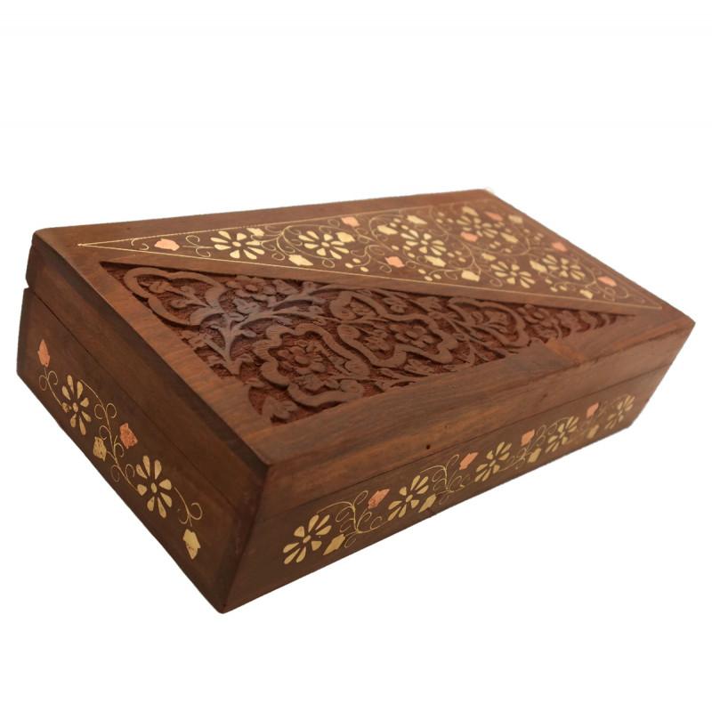 HANDICRAFT ASSORTED SHEESHAM WOOD BOX COPPERBRASS INLAID FINE SLAB 10X5 INCH