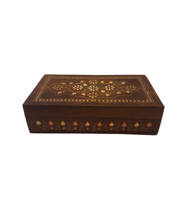 Sheesham Wood Handcrafted Box with Brass-Copper Inlay