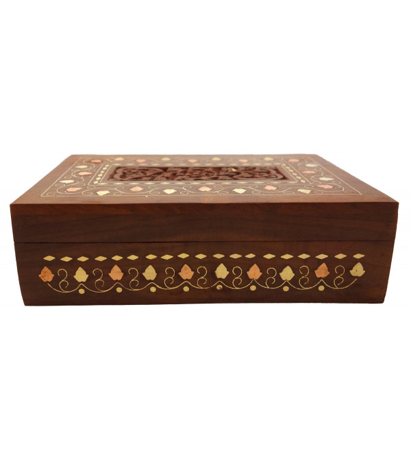 HANDICRAFT ASSORTED SHEESHAM WOOD BOX COPPERBRASS INLAID 8X15 INCH