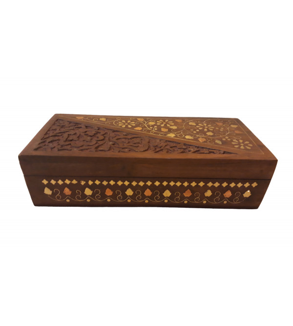 SHEESHAM WOOD BOX COPPERBRASS INLAID JALI 9 x 4 x 2 INCHES