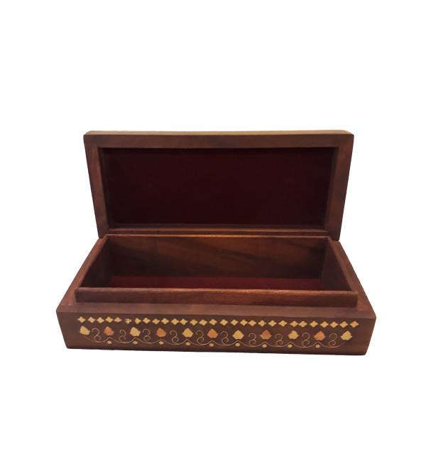 SHEESHAM WOOD BOX COPPERBRASS INLAID JALI 9 x 4 x 2 INCHES