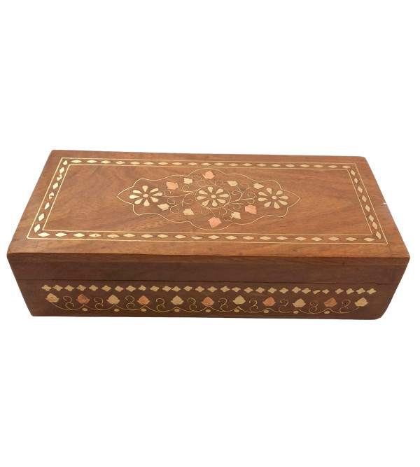 HANDICRAFT ASSORTED SHEESHAM WOOD BOX COPPERBRASS INLAID JALI 9X4 INCH