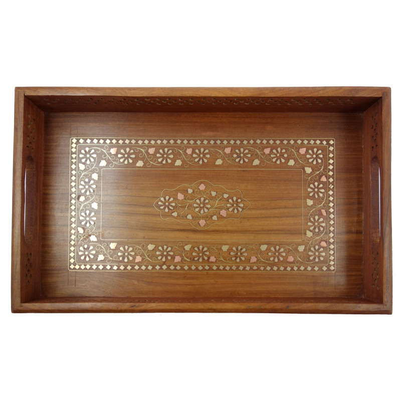 HANDICRAFT ASSORTED SHEESHAM WOOD TRAY COPPERBRASS INLAID 18X12 INCH