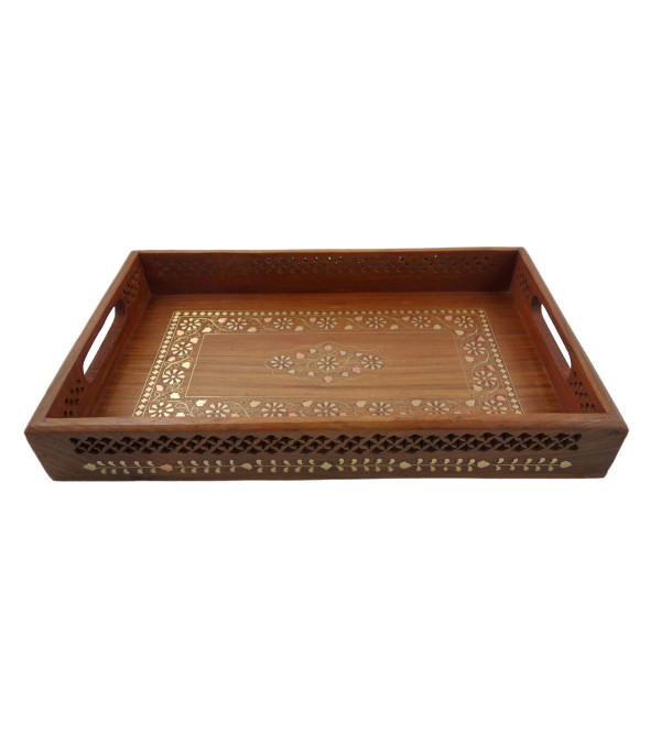 HANDICRAFT ASSORTED SHEESHAM WOOD TRAY COPPERBRASS INLAID 17X11 INCH