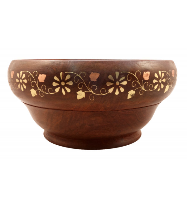 HANDICRAFT ASSORTED SHEESHAM WOOD BOWL COPPER BRASS INLAY 8X3 INCH