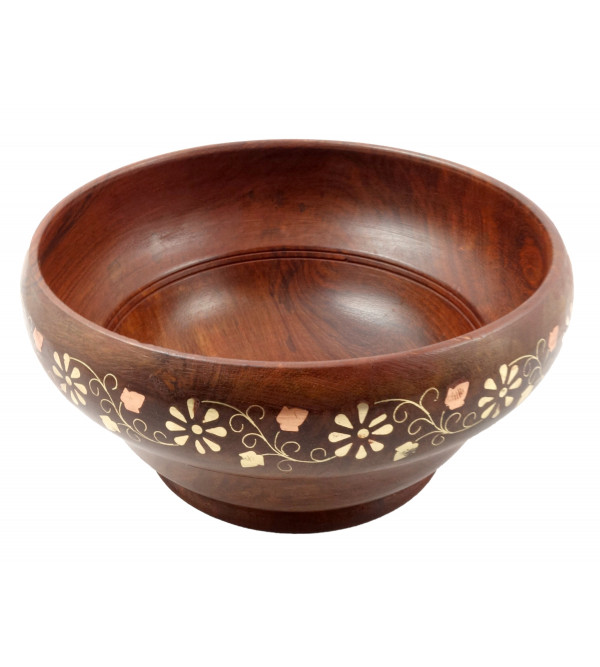HANDICRAFT ASSORTED SHEESHAM WOOD BOWL COPPER BRASS INLAY 8X4 INCH