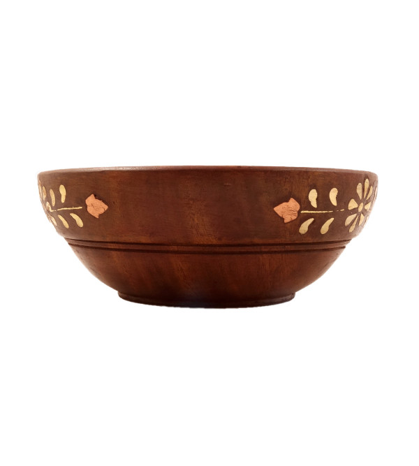 HANDICRAFT ASSORTED SHEESHAM WOOD BOWL COPPER BRASS INLAY 7X4 INCH