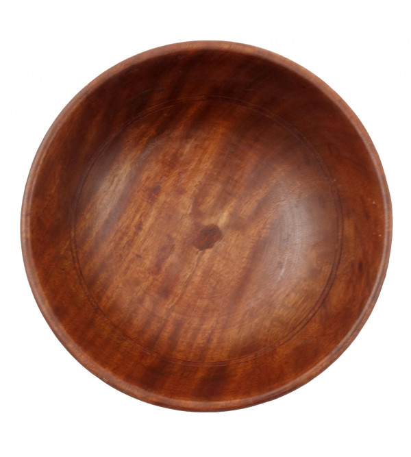 Sheesham Wood Handcrafted Bowl with Brass- Copper Inlay