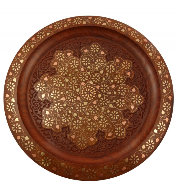 HANDICRAFT ASSORTED SHEESHAM WOOD PLATE ROUND COPPER BRASS INLAY 15X2 INCH