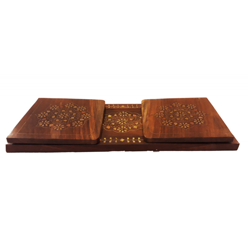 SHEESHAM WOOD BOOKENDS COPPER BRASS INLAY 16 x 6 x 1.5 INCHES