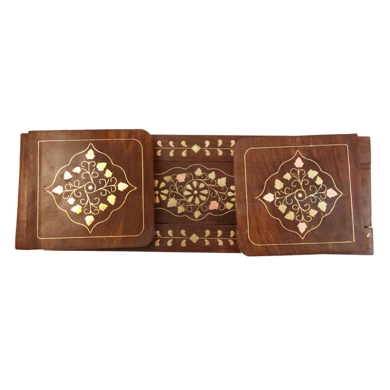 HANDICRAFT ASSORTED SHEESHAM WOOD BOOKENDS COPPER BRASS INLAY 12X4 INCH
