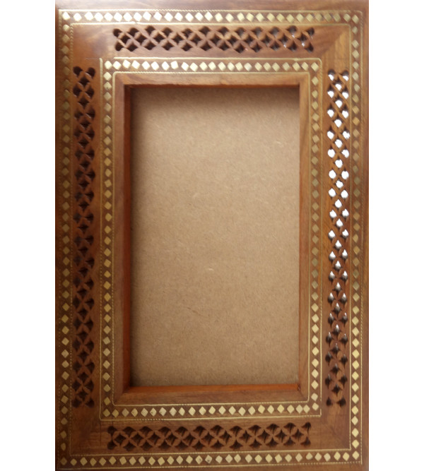 HANDICRAFT ASSORTED SHEESHAM WOOD PHOTO FRAME DOUBLE COPPER BRASS INLAY 10X16 INCH
