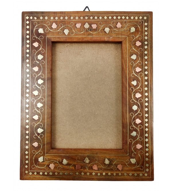 HANDICRAFT ASSORTED SHEESHAM WOOD PHOTO FRAME SINGLE COPPER BRASS INLAY 10X8 INCH