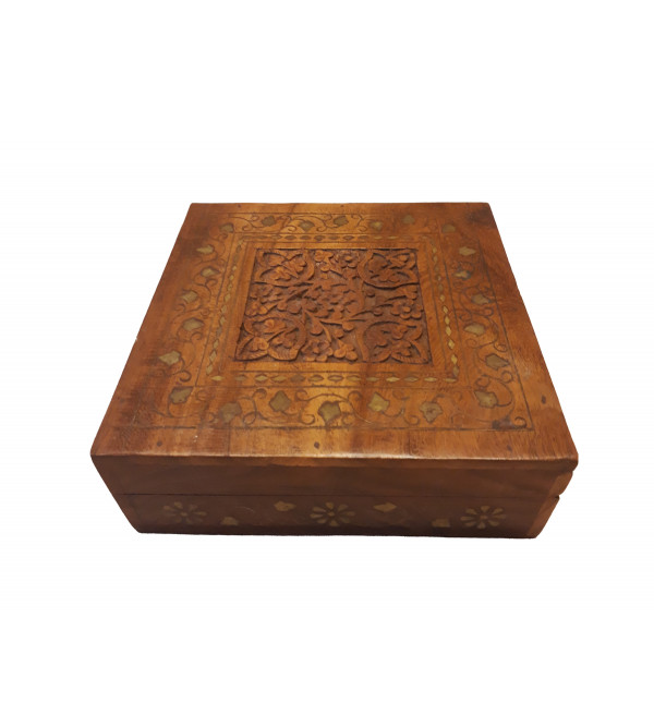 BOX COPPERBRASS INLAID  JALI   SHEESHAM WOOD 7 x 7 x 2.5 INCHES