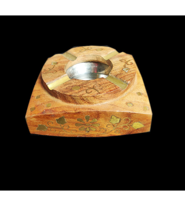 BOWL COPPERBRASS INLAID SHEESHAM WOOD