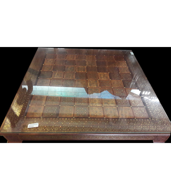 Dining Table With Carving And Brass Inlay