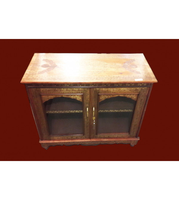 Wooden Handcrafted Copper Inlay Cabinet
