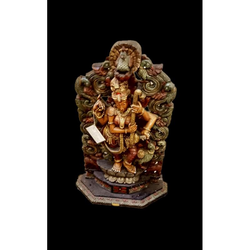 PEAcockCARVING Saraswati figure 36 inch