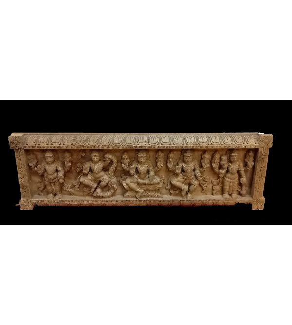 36X12X3 GANESH PANDAL IN VAGHAI WOOD NATURAL FINISH