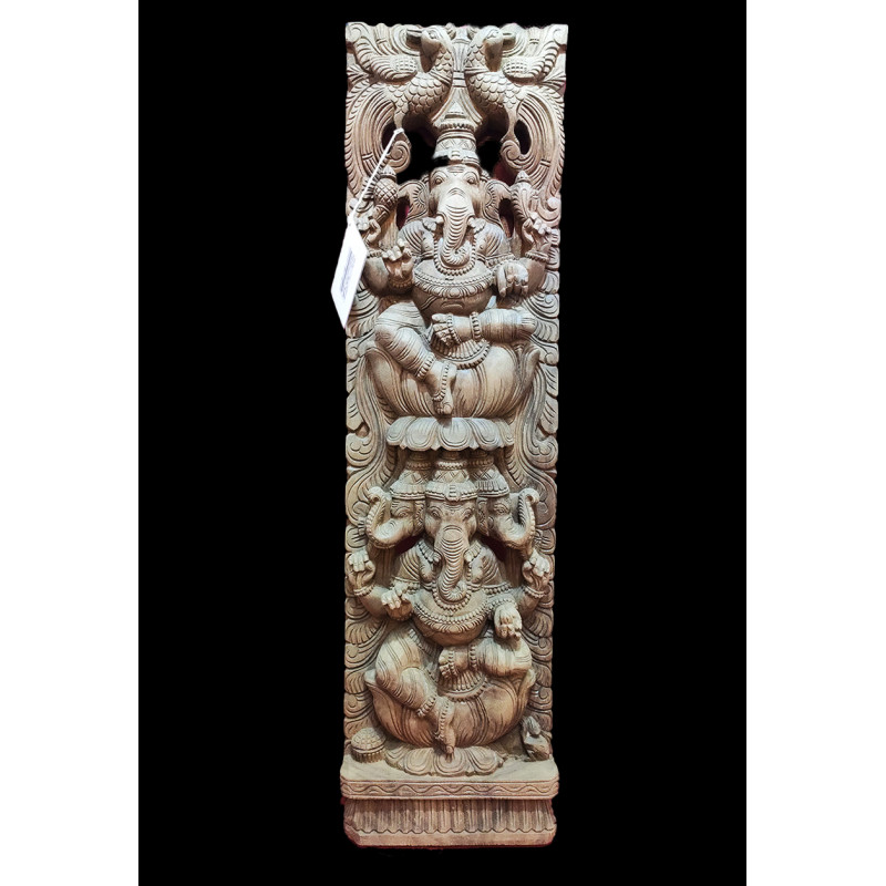 Ganesh Panel Handcrafted In Vaghai Wood Size 36X12X3 Inches