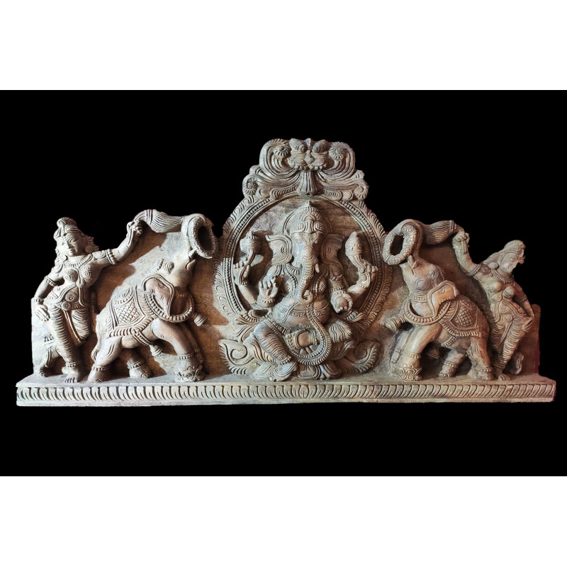 Krishna Panel Handcrafted In Vaghai Wood Size 36X18X3 Inches