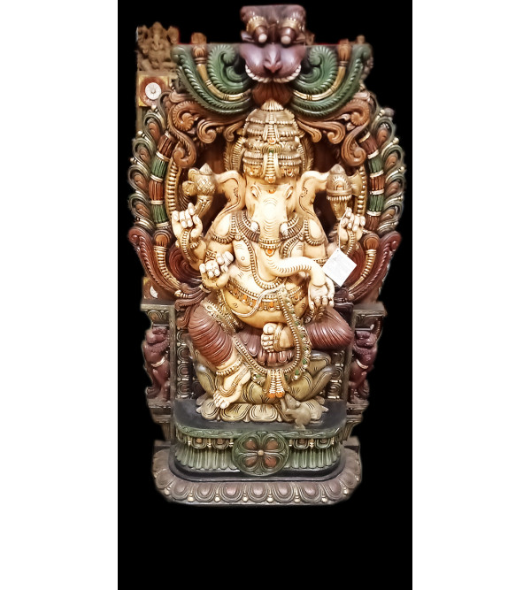 60X39X10 GANESH SITTING SPECIAL IN VAGHAI WOOD PAINTED