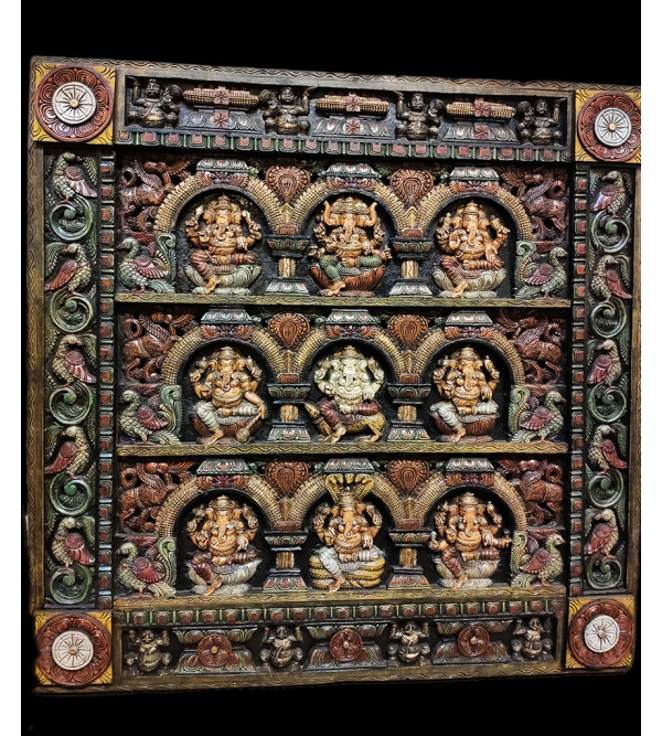 48X48X4 INCH GANESH PANNEL SQUARE PAINTED IN VAGHAI WOOD