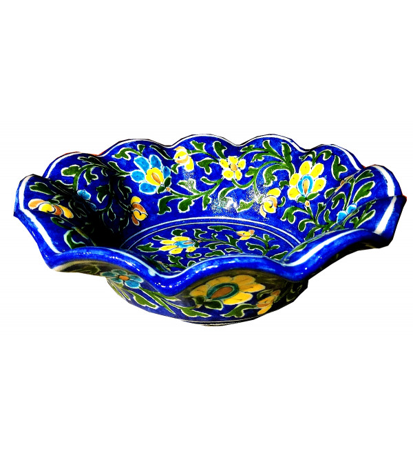 BOWL BLUE POTTERY lotus 8inch