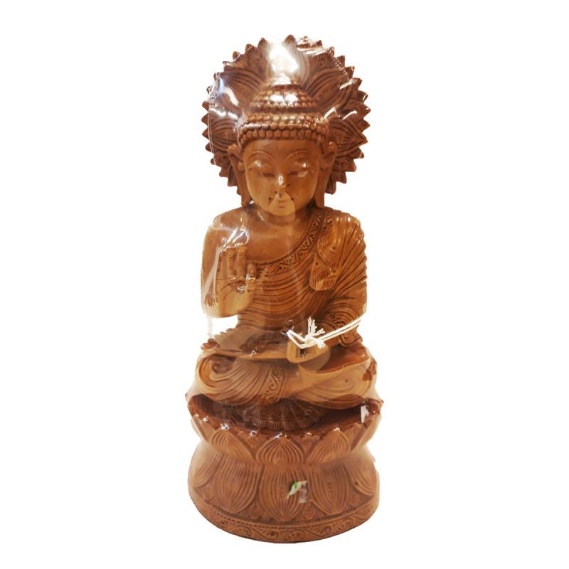 Sandalwood Handcrafted Sitting Lord Buddha Figurine