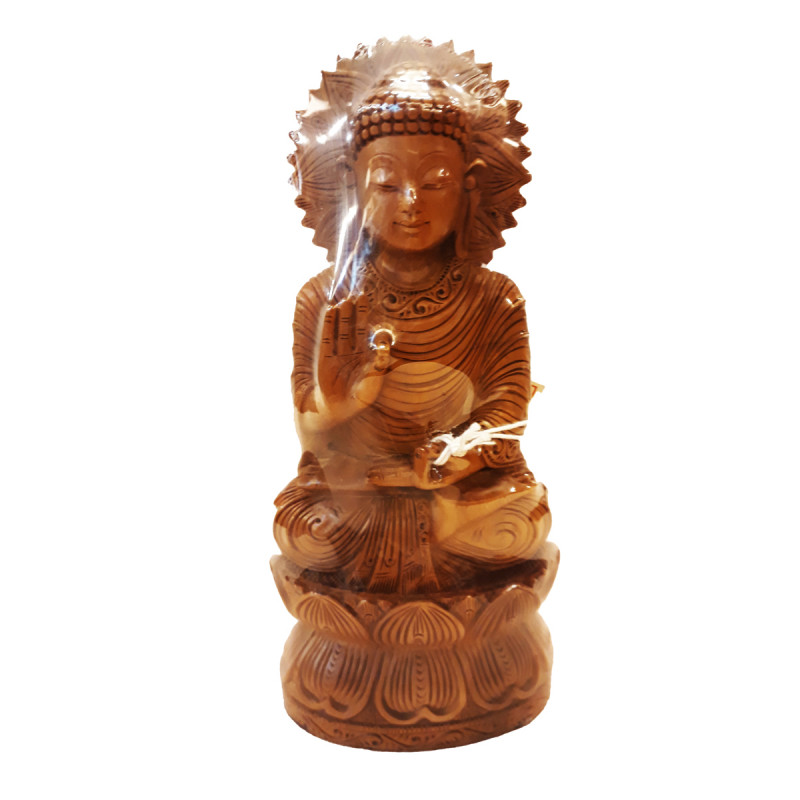 SANDAL WOOD BUDDHA SITTING SPOL 8 INCH