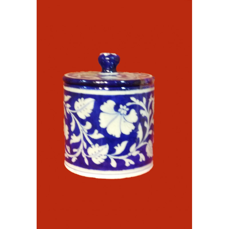 BLUE POTTERY JAR WITH LID 4  INCH