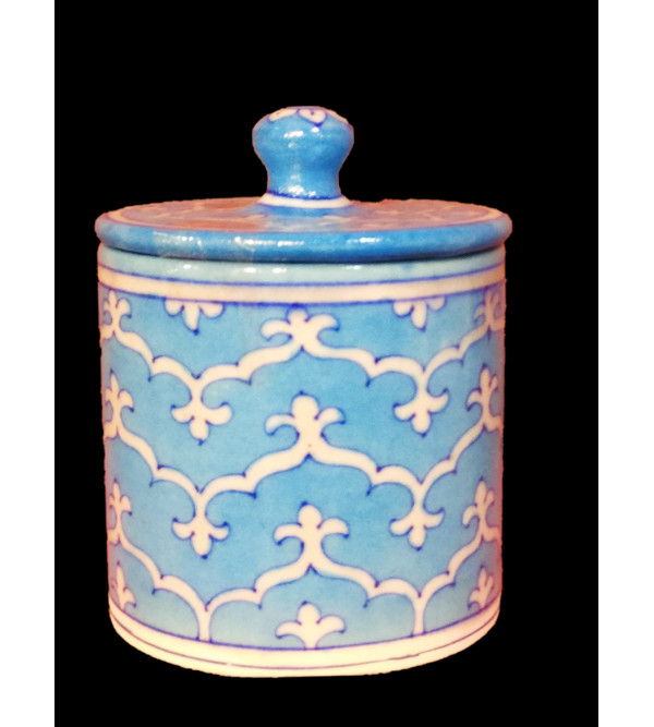 Blue Pottery Jar With Lid Size 4 Inch