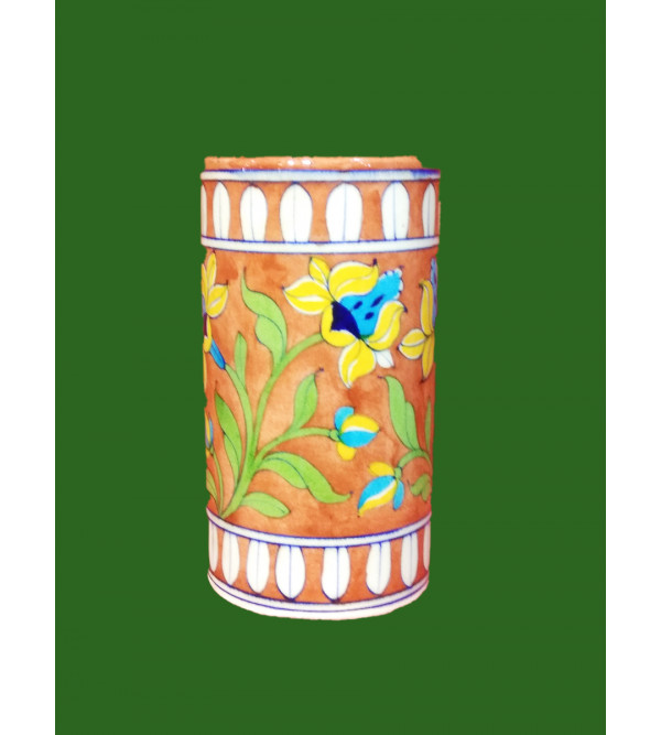 BLUE POTTERY CYLINDRICAL VASE 6 INCH