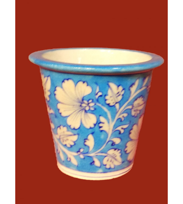 BLUE POTTERY PLANTER 6 INCH