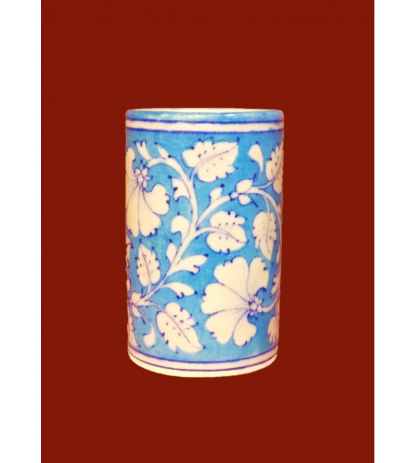 BLUE POTTERY CYLINDRICAL VASE 4 INCH